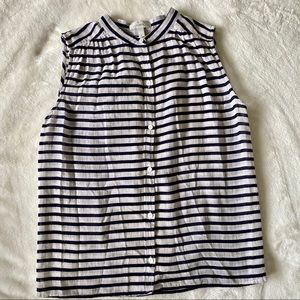 J.Crew Striped Sleeveless Button Up Top Size 0